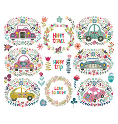 Set of hand drawing cute cartoon car with a floral vector