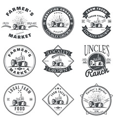 Set of retro farm fresh labels badges and design vector
