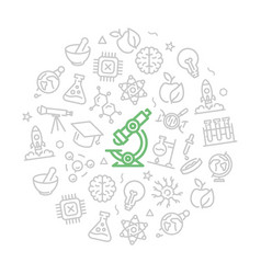 set of science and research icons in circle vector image