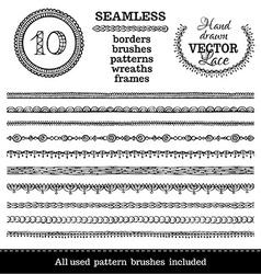 set of seamless hand-drawn ethnic borders vector image