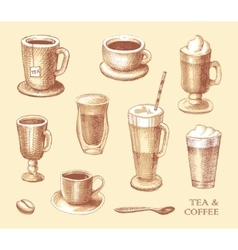 Set of sketches of cups of coffee and tea vector image