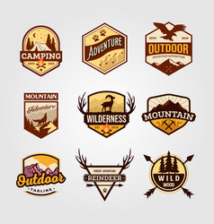Set outdoor adventure vintage logo emblem vector