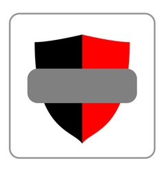 Shield icon red gray black vector