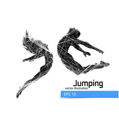 silhouette a jumping man and girl vector image
