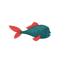 small blue fish with bright red fins underwater vector image