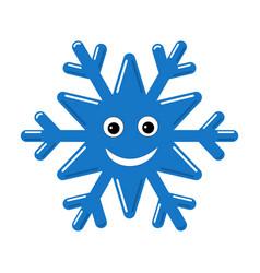 Snowflake smiley baface cute winter blue snow vector