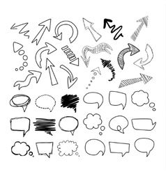 Speech Bubbles and Arrows Handdrawn Set vector