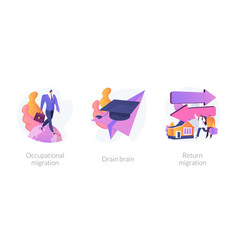students and employees emigration abstract concept vector image