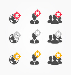 target on person assassin icon set vector image