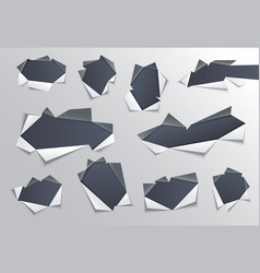 torn hole with gray edges in middle of paper set vector image