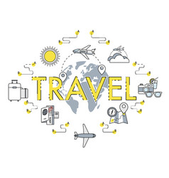 travel flat thin line around world vector image