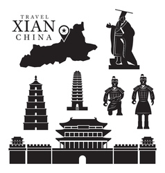 Travel Xian China Objects Mono Set vector