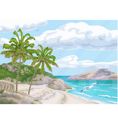 tropical background with sea coast and palm trees vector image