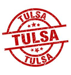 Tulsa red round grunge stamp vector