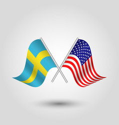Two crossed swedish and american flags vector