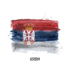 watercolor painting flag serbia vector image