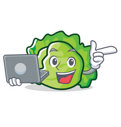 With laptop lettuce character cartoon style vector