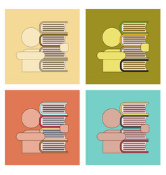 assembly flat icons schoolboy books vector image