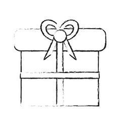 blurred silhouette giftbox with wrapping bow vector image vector image