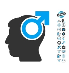 Intellect Potency Icon With Air Drone Tools Bonus vector image vector image