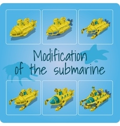 Modification of the submarines six icons vector image vector image