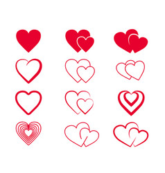 Set hand drawn hearts elements for greeting cards vector