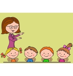 Teacher teaches children vector image vector image