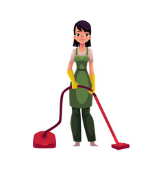 cleaning service girl charwoman in overalls vector image