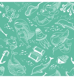 pattern with doodle mermaid and underwater set vector image