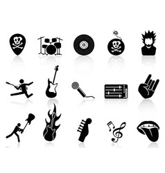 rock and roll music icons vector image vector image