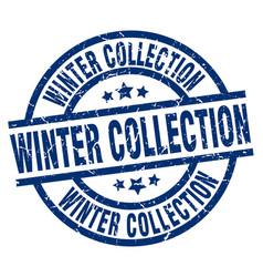 Winter collection blue round grunge stamp vector