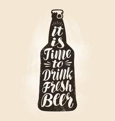 bottle of beer ale label lettering calligraphy vector image
