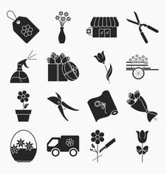 collection of flower shop icons vector image vector image