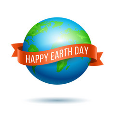 earth day globe with red ribbon vector image vector image