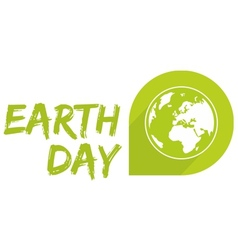 Earth day icon with green planet isolated on white vector image vector image