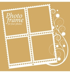 frame with floral Elements for four photos vector image