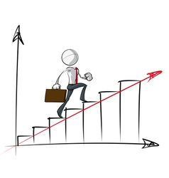 Simple business people steady growth chart vector