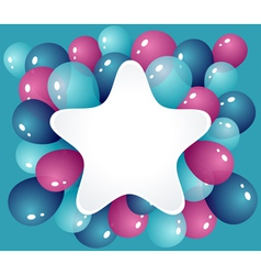 Star frame with balloons vector image vector image