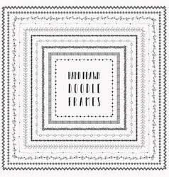black hand-drawn abstract doodle frames vector image vector image
