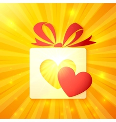Paper gift box with cutout red heart vector image vector image