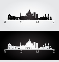 rome skyline and landmarks silhouette vector image