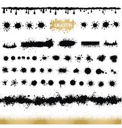 set of black and white ink splash blots and brush vector image