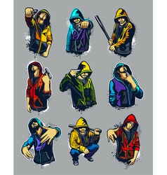 set of hoody gangsters vector image vector image