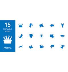 15 animal icons vector