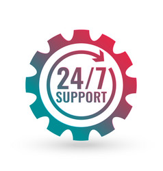247 hours support concept symbol vector image