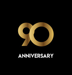 90 year anniversary simple template design vector