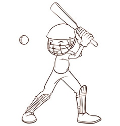 A plain sketch of a cricket player vector image