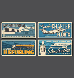 Airport aviation retro banners aircraft vector