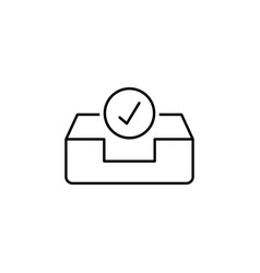Approve box email inbox outline icon signs and vector