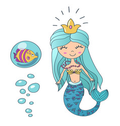 beautiful cute little siren mermaid vector image